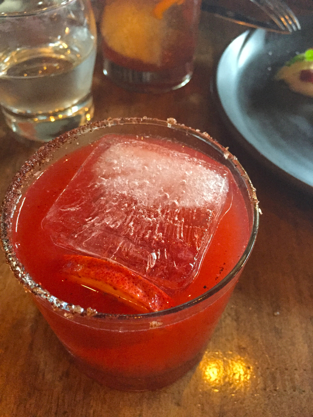 margarita , blood orange, chili honey, suze gentian, tequila.