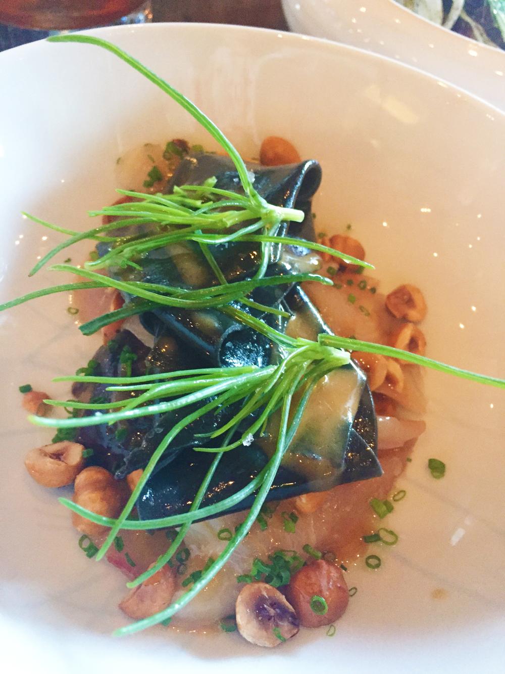 hamachi , shiitake escabèche, hazelnuts, kelp