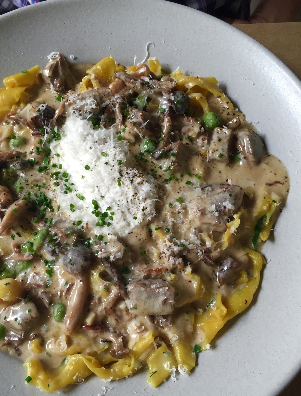 Beef Stroganoff with house-made egg noodles, braised short rib, wild mushrooms, and crème fraîche.