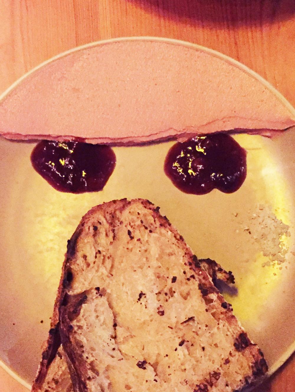 Chicken Liver Crostone with black plum mustard.