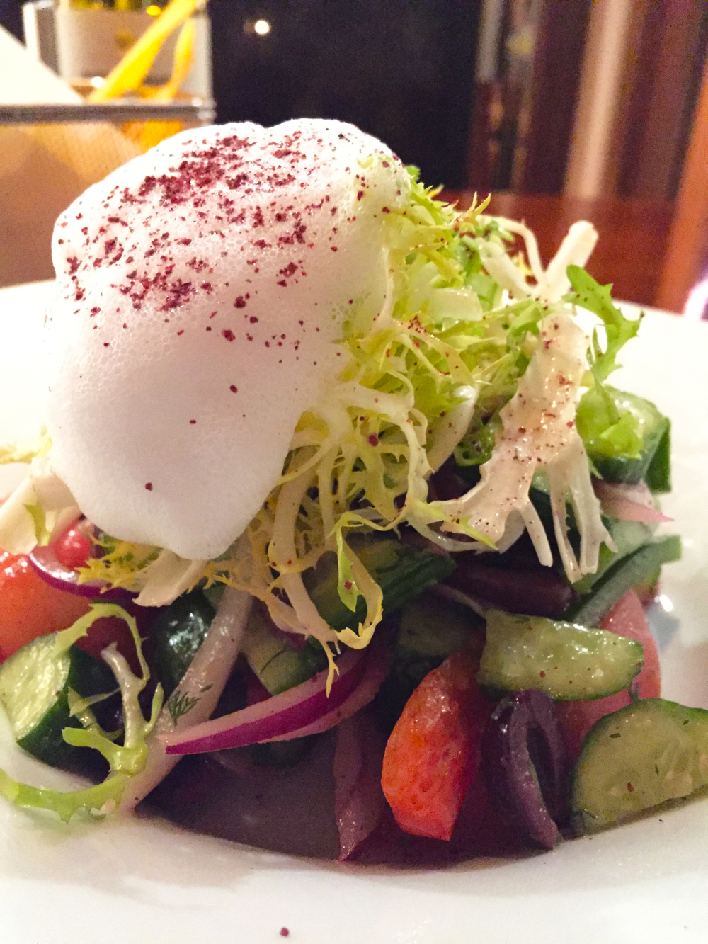 """""""Fattoush Salad"""" with Persian cucumbers, heirloom tomatoes, peppers, feta cheese, onions, and lemon-sumac dressing."""