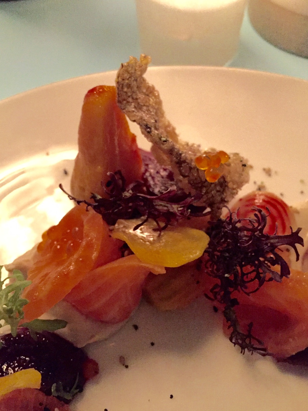 smoked trout & beets with shallots, roe & everything crumble
