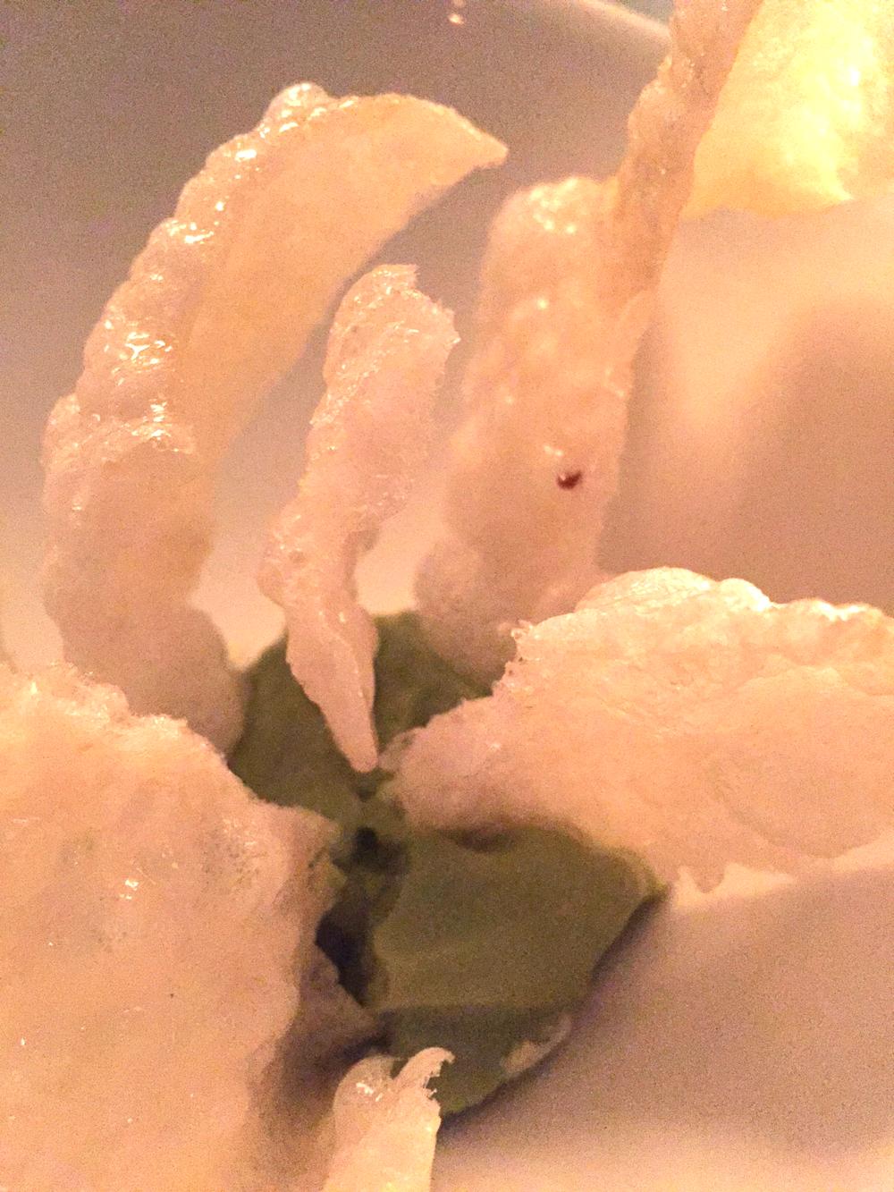 puffed onion with avocado-sorrel dip