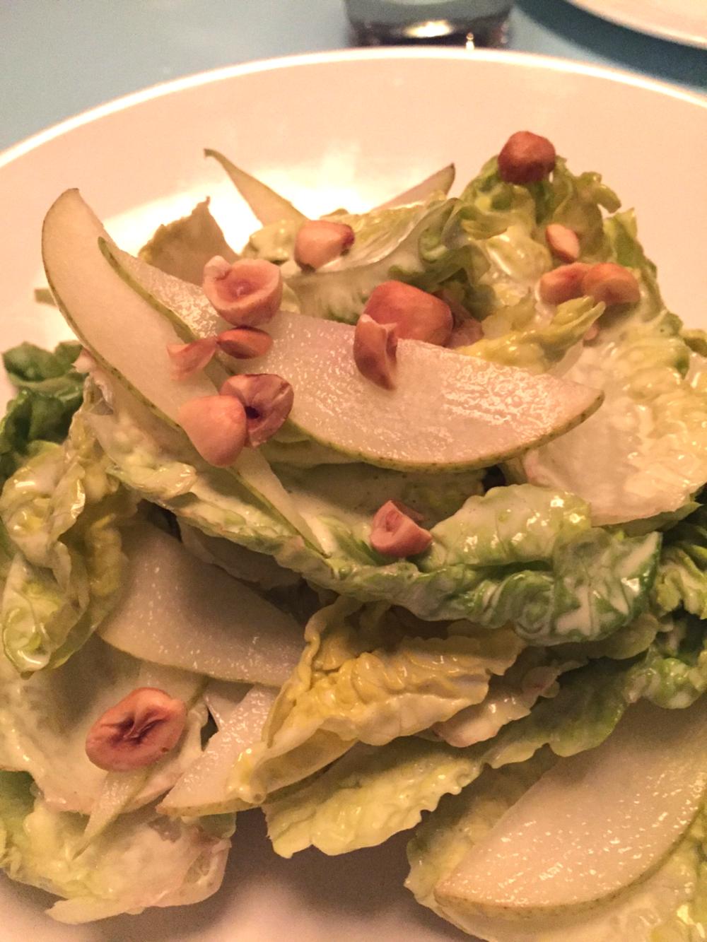 little gem salad with pear, tarragon & hazelnut