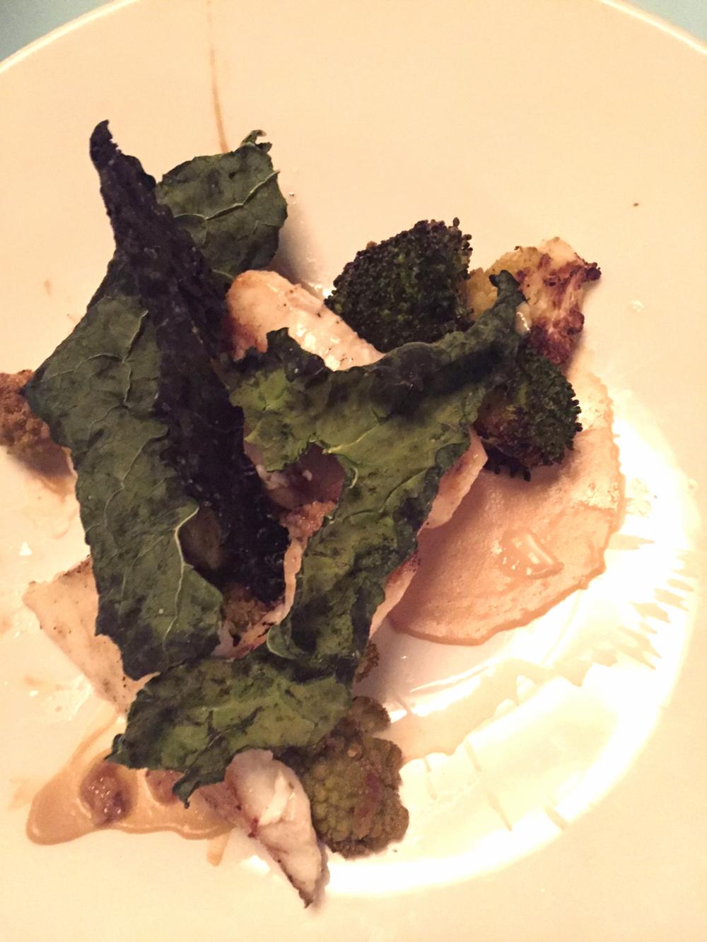 grilled john dory with brassicas, meyer lemon & miso bagna cauda