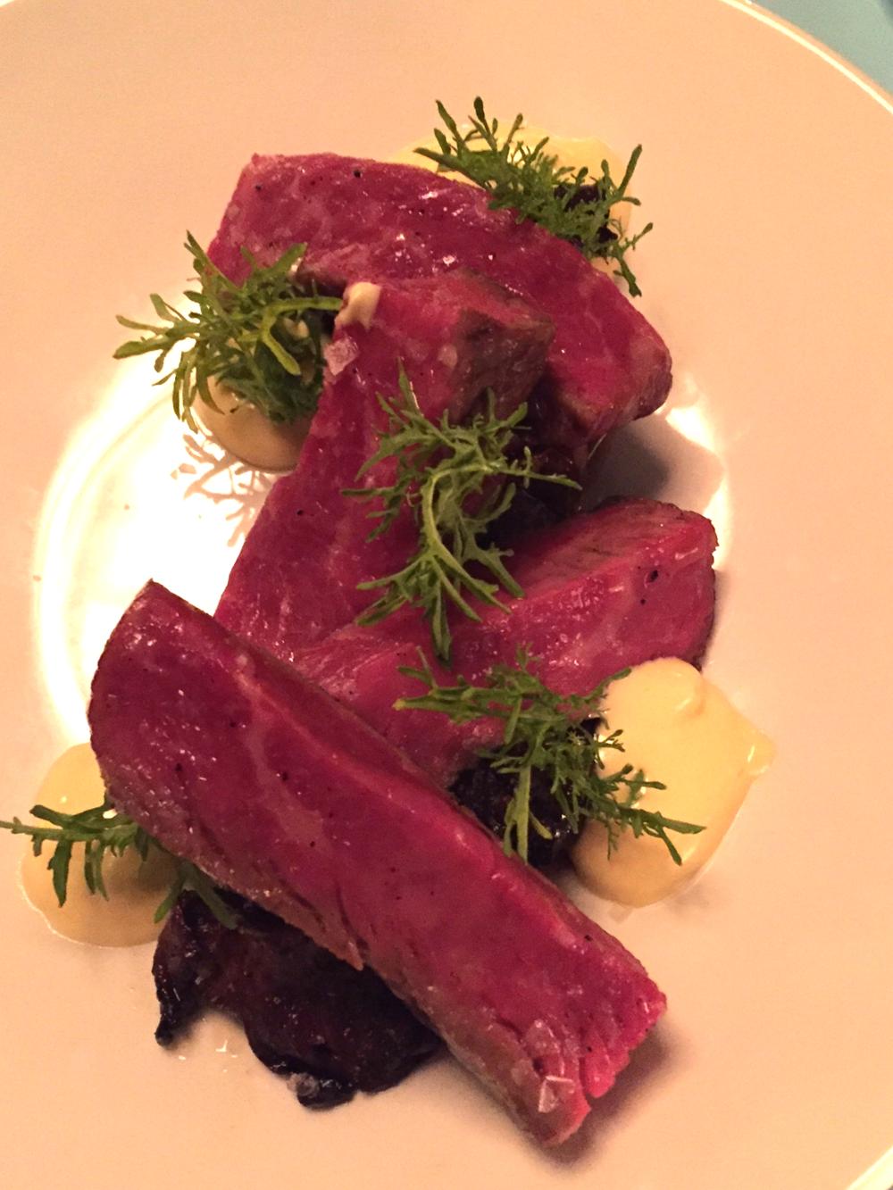dry aged new york steak, sunchoke, pickled chanterelle, brown butter bearnaise
