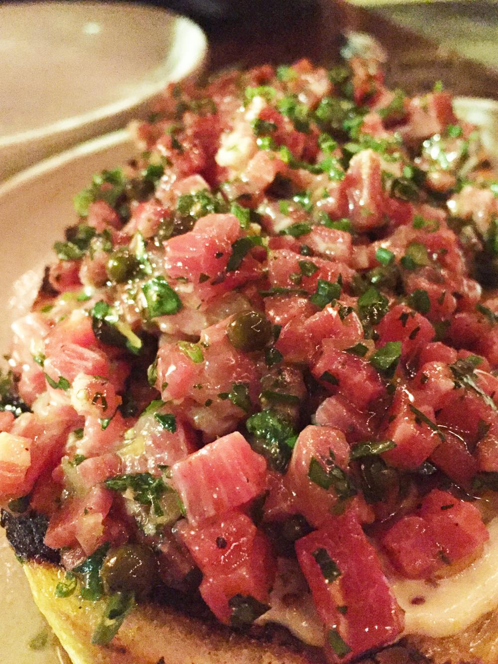 Chop steak, green peppercorn, shallot, aioli, grilled bread.