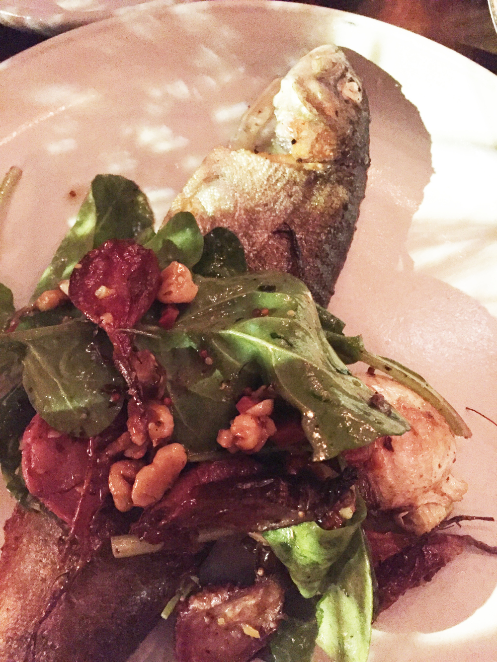 Cast iron-roasted ruby trout, roasted turnips, country ham vinagrette, arugula, walnut.