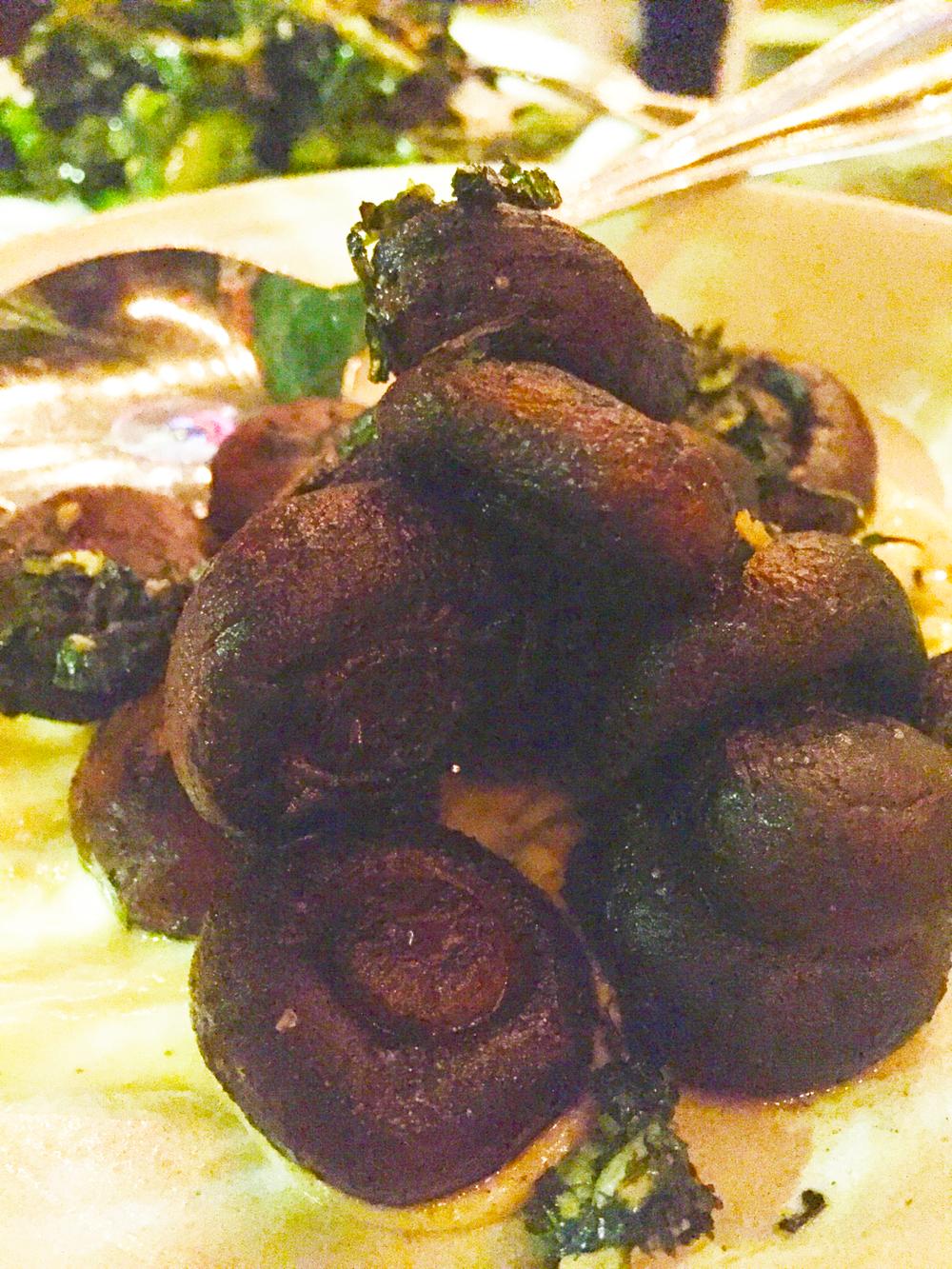 Roasted brown cap mushrooms, charred herb salsa, mushroom aioli.
