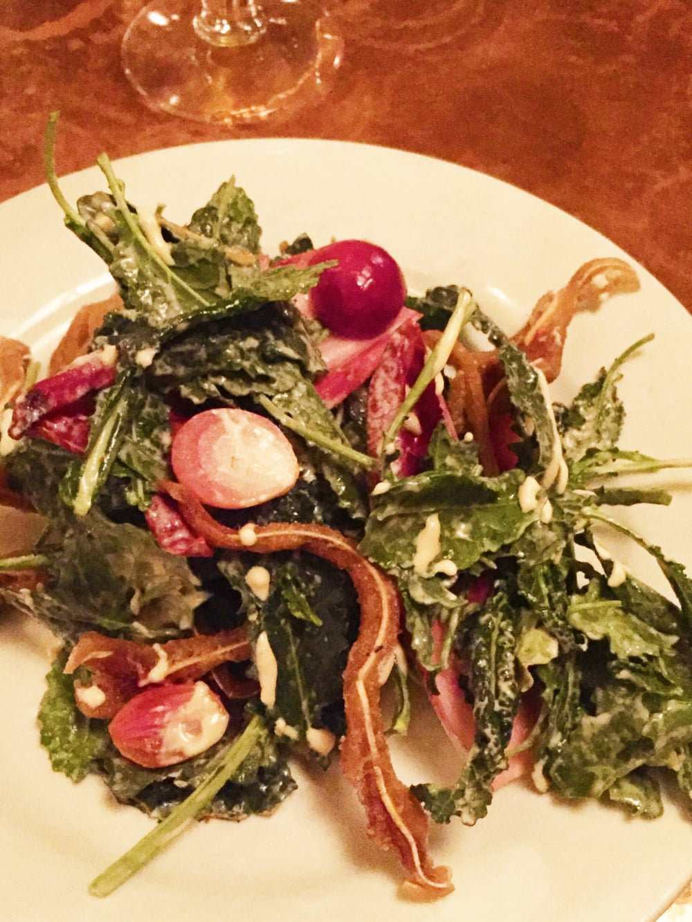 Crispy Pig's Ear Salad with Red Endive and Mustard.
