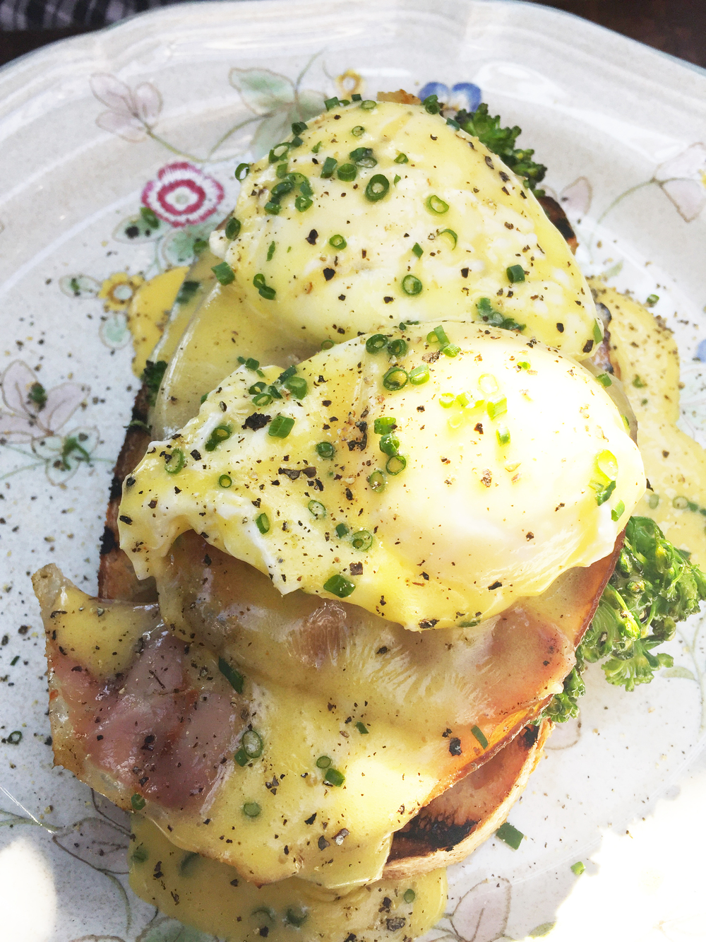 Poached eggs with Broadbents ham, grilled broccoli, hollandaise, and country bread.