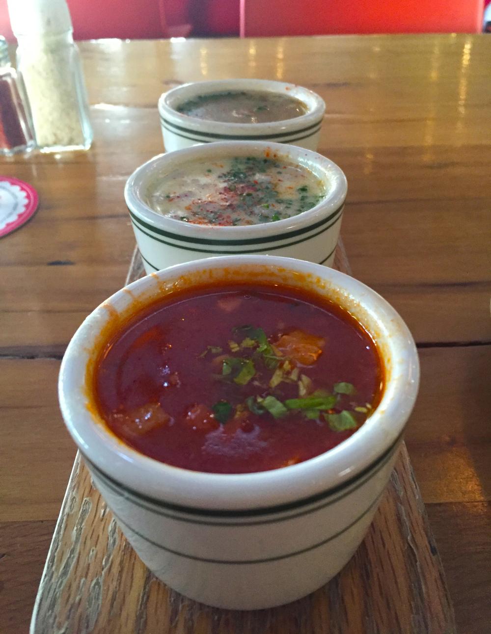 Tasting trio of clam chowder -- Manhattan, New England, and Rhode Island
