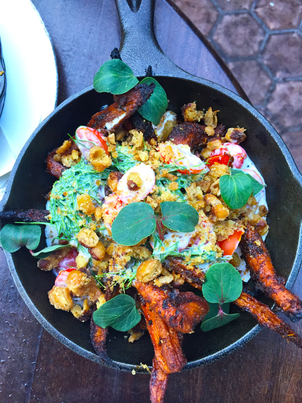 Spicy Roasted Carrots with Goat Kefir-Marinated Tomatoes, Toasted Yellow Eyed Peas, & Emeril's BAM!