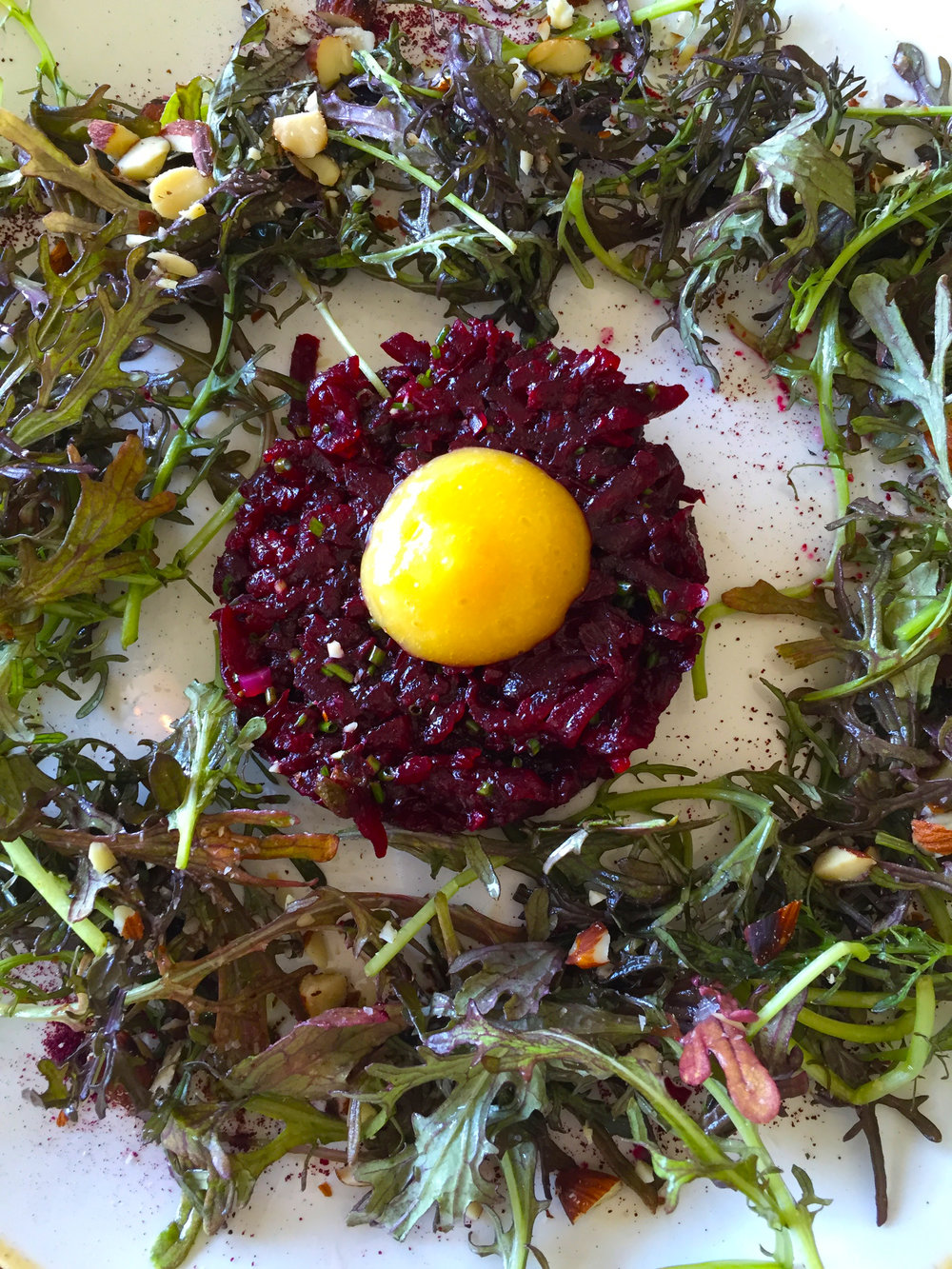 BEET TARTAR mustard greens / almond / preserved lemon