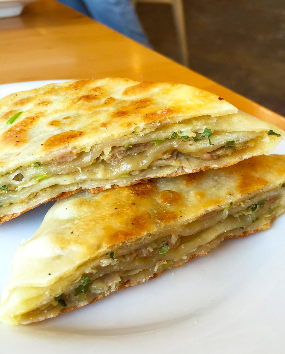 LAYERED PORK PANCAKE - Kurobuta Pork, Scallions.