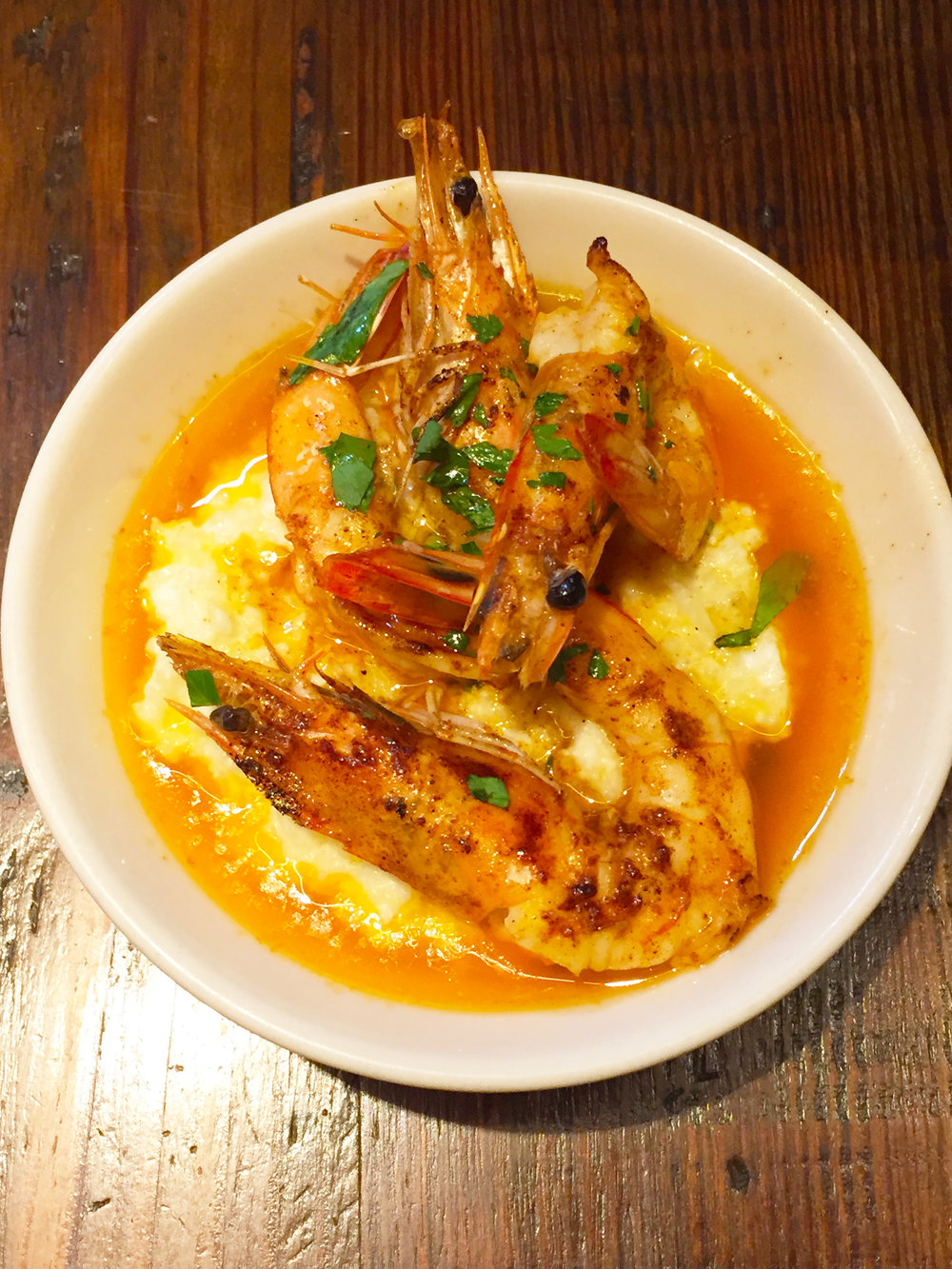 "Grilled prawns + cauliflower ""grits"", smoked paprika butter"