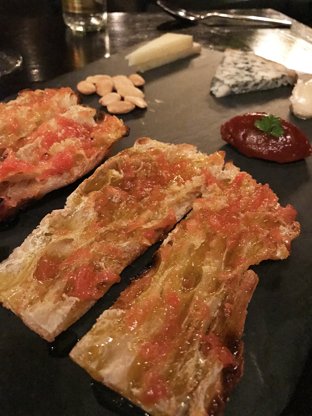 Pa'amb Tomaquet  catalan style toasted bread with tomato and cheese