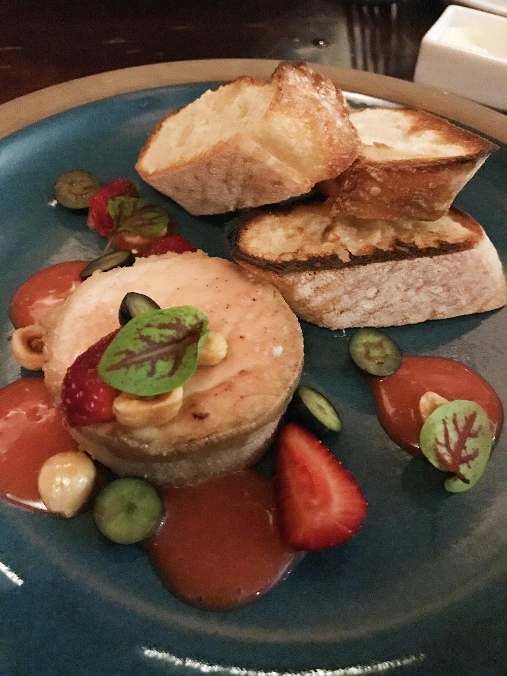 Foie gras torchon, strawberry, hazlenut, and sorrell