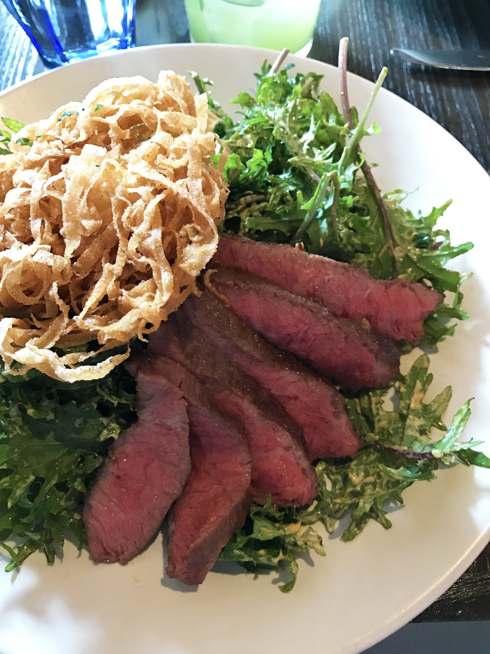 Steak and Eggs - flatiron, kale, chipotle vinaigrette, crispy egg