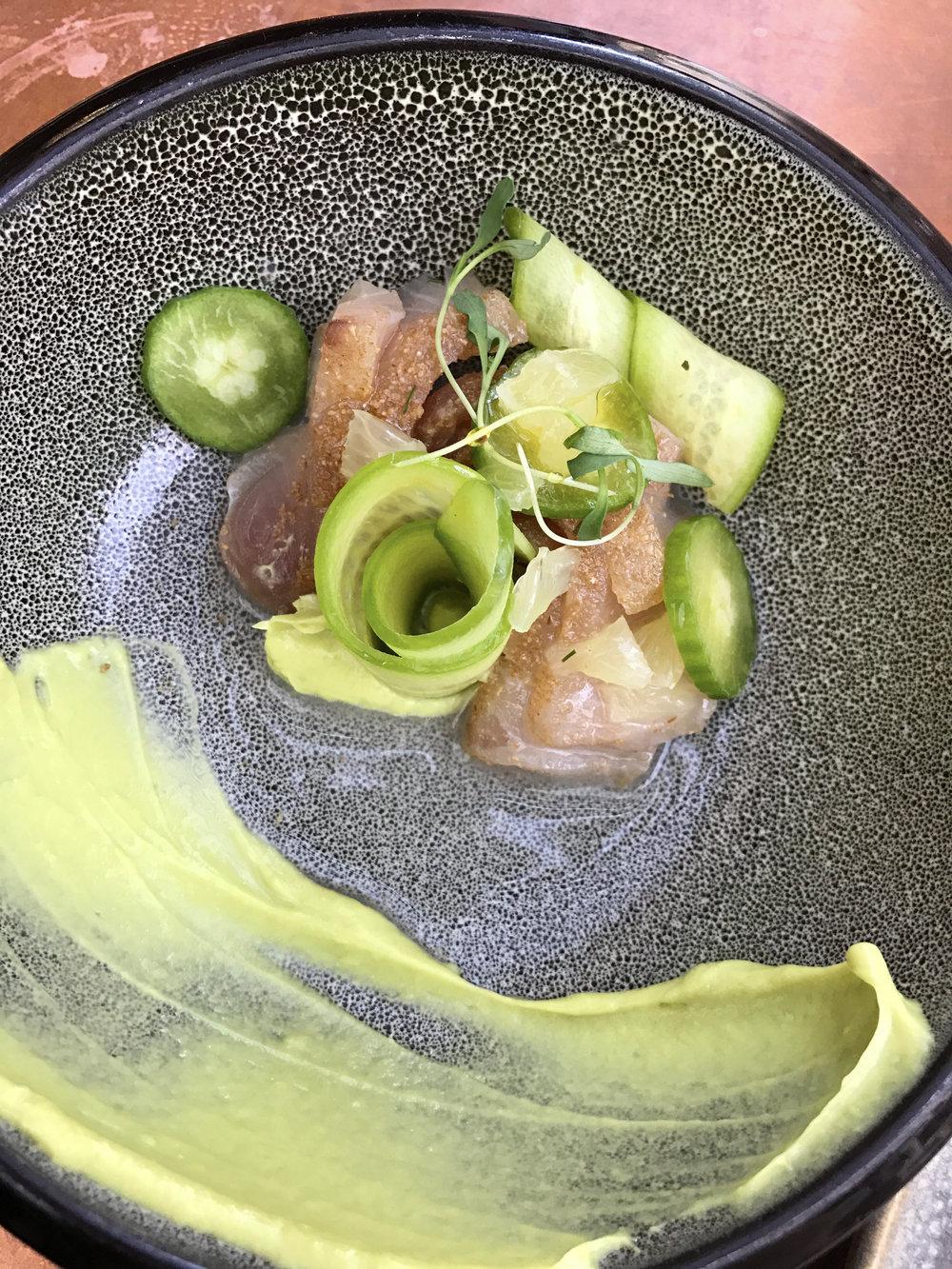 Hamachi with coriander, avocado, lemon, and dill