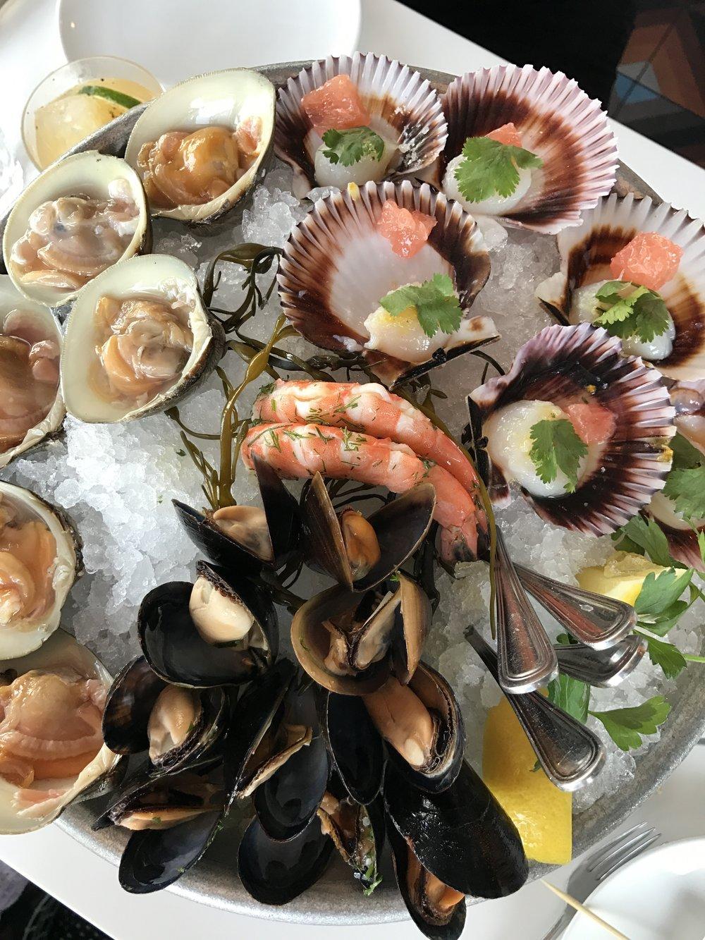 Raw bar delights - Littleneck Clams, Peruvian Scallops, Jumbo Shrimp, and Prince Edward Island Mussels