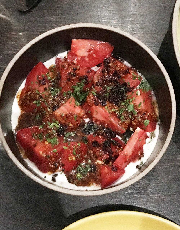 Momotaro Tomato bagna cauda, lap xuong, creme fraiche, fines herbs