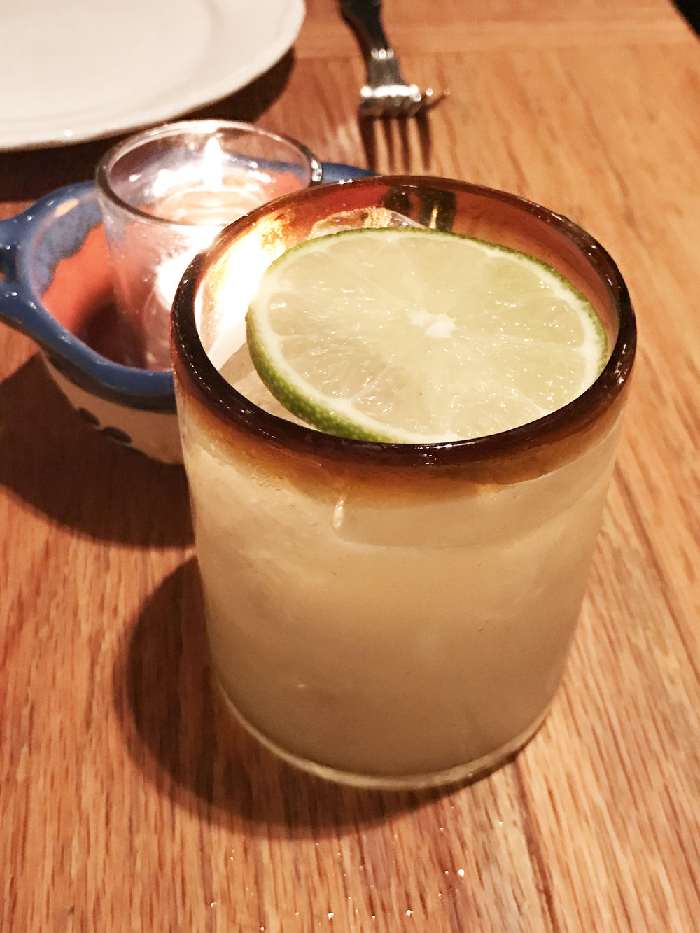 Broken Spanish Margarita with tequila blanco, lime juice, and agave