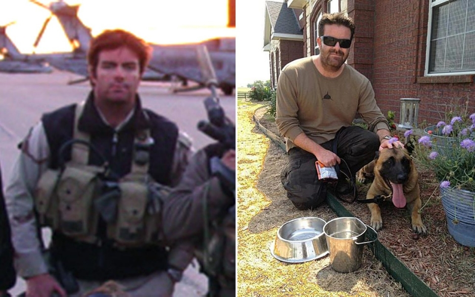 Brandon Webb in Afghanistan in 2002, left, and with his dog Castor in Texas, 2012, right.