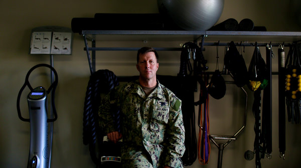 Capt. Tom Chaby leads a new task force to address the mental, emotional and physical needs of troops.CreditBrian Blanco for The New York Times