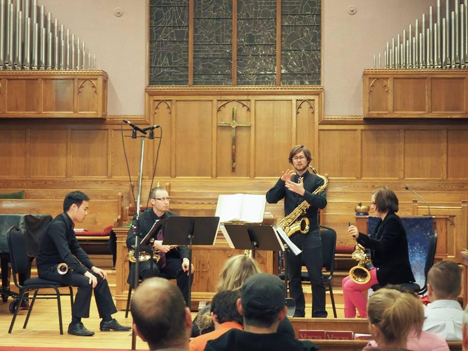 Quatuor de saxophones Proteus,'Afflux Urbain' à l'église Scarboro (2014) à Calgary, Canada