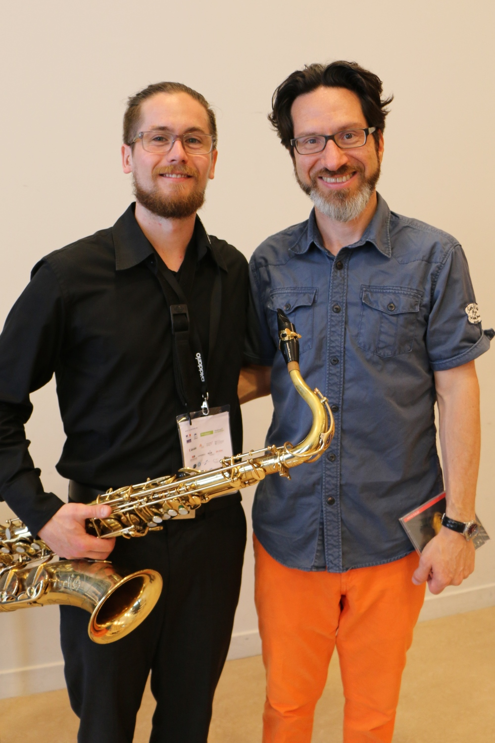 Gordon Fitzell and Tommy Davis at the XVII World Saxophone Congress, Strasbourg, France