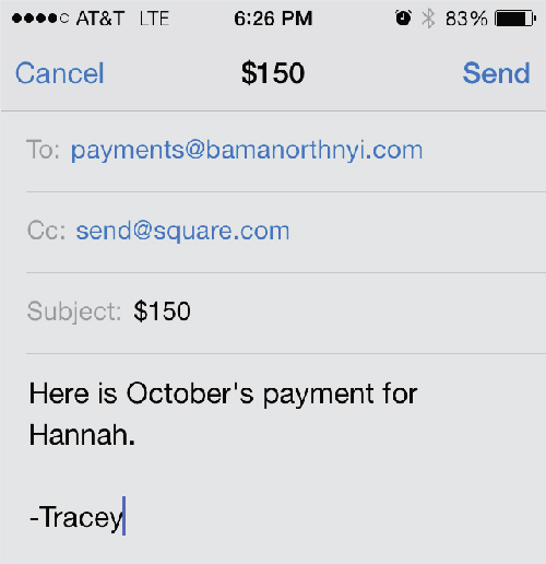 Send an email to payments@bamanorthnyi.com. Cc send@square.com. Put the amount in the subject.