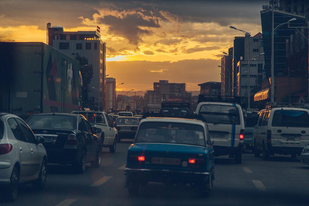 Traffic at Sunset - Addis Ababa, Ethiopia