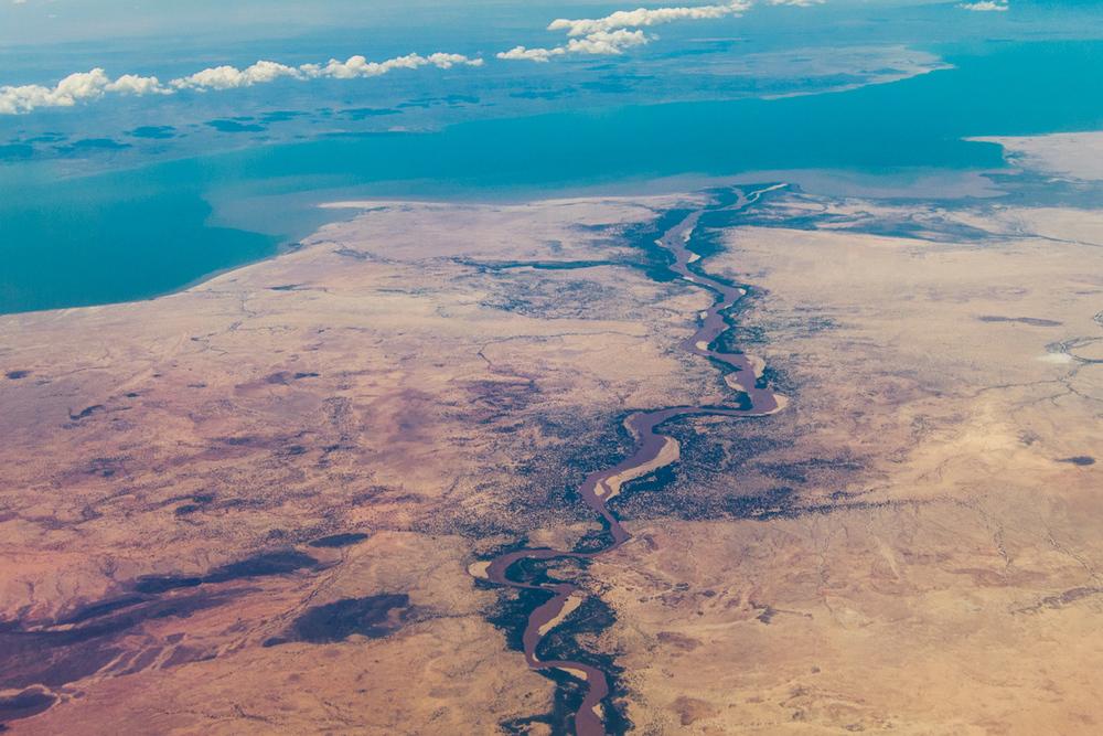 The Turkwel River running into Lake Turkana in Northern Kenya.