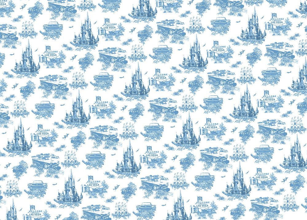 Bucolic . Post-war America-themed Toile de Jouy pattern. (Scalable digital pattern.)