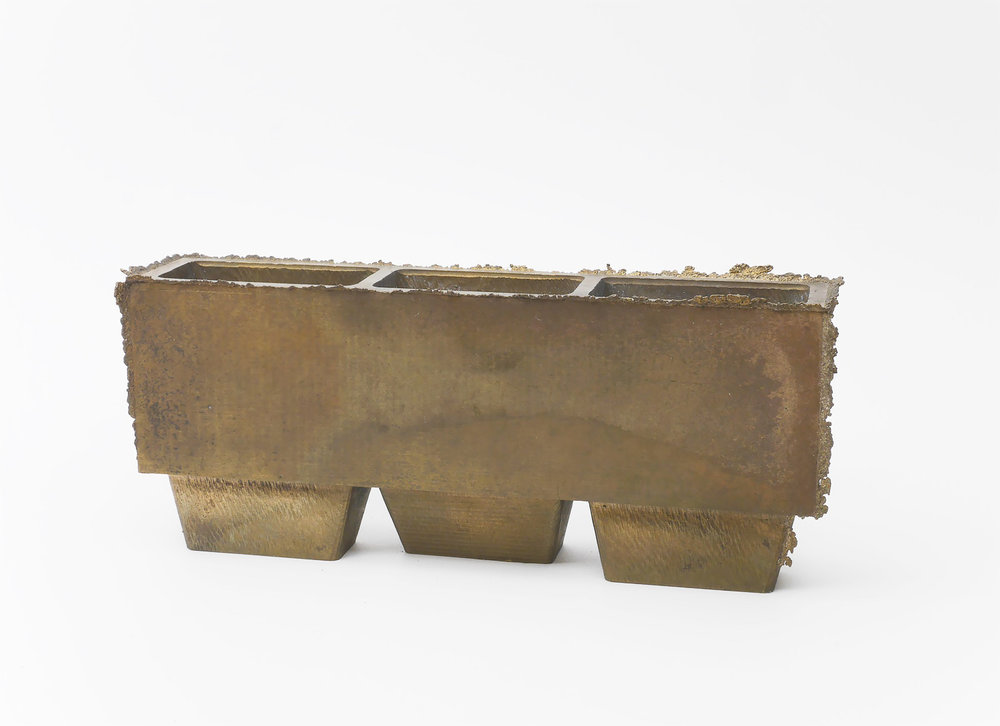 Three Chamber Vessel. (bronze | approx. dimensions 7 in. x 3 in. x 1.5 in.)