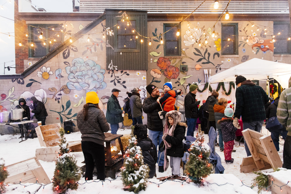 The Corktown community gathering for Corktown-a-Glow, the holiday neighborhood-wide event founded by Erin Gavle / Winter 2017 / Photography by  eeberger