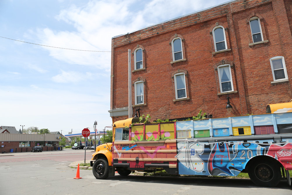 Interactive Art Bus by Greg Mangan for People's First Project outside of Eldorado General Store / Photo by  Sarah Barthlow