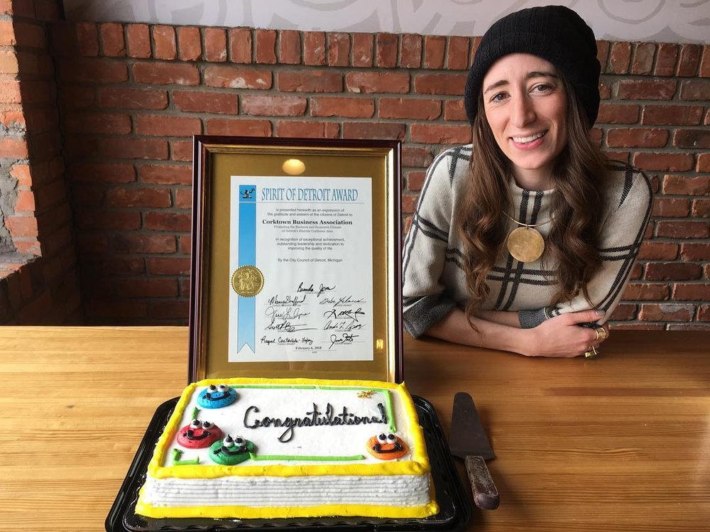 "The Corktown Business Association was honored with The Spirit of Detroit Award for their commitment to bring businesses and residents together in hopes to make positive change in Corktown. ""As a board member of the CBA and the Director of Events, I'm incredibly humbled and excited to keep engaging our community, one event at a time."" - Erin Gavle"