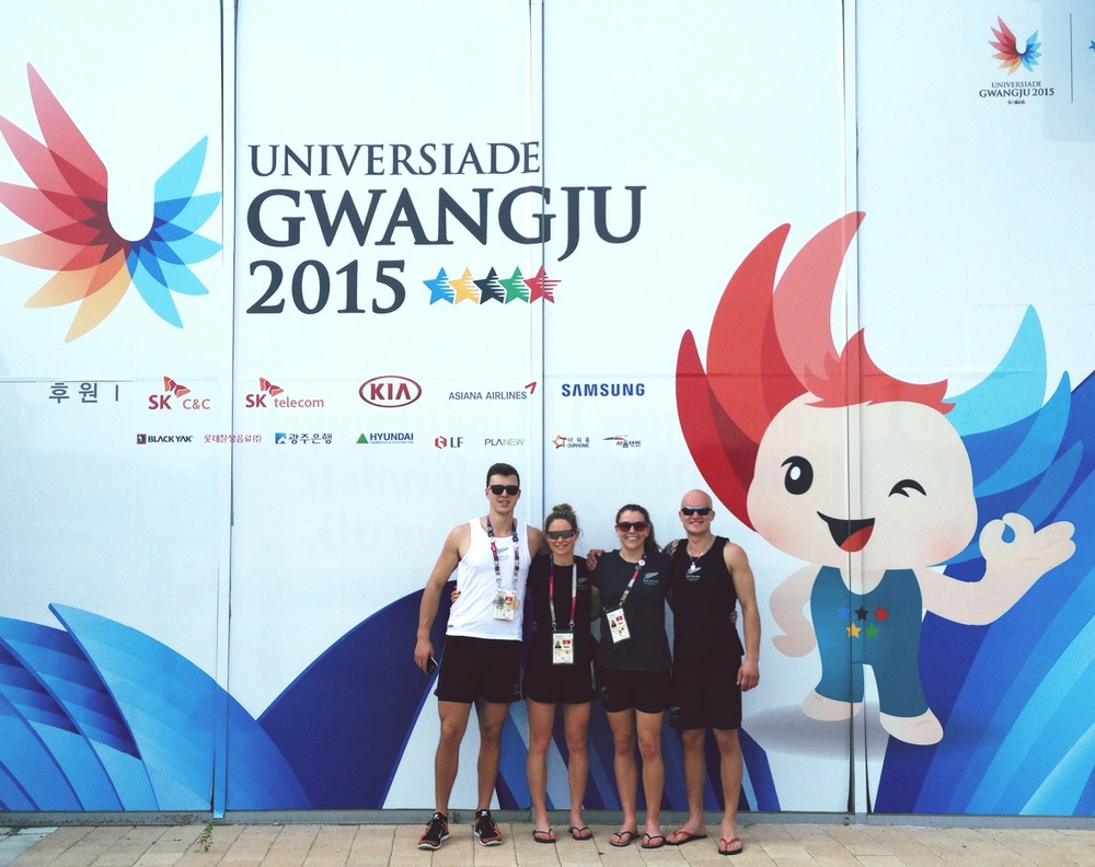 The 2015 NZ World University Rowing Team next to the Universiade Mascot, Nuribi