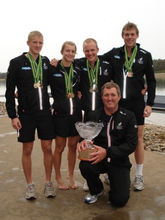 The Tauranga contingent from the undefeated 2010 NZ U21 Team. R-L: Adam Ling, Lana Davison, Ugly bugger, Duncan By de ley (Coach), Michael Berry.