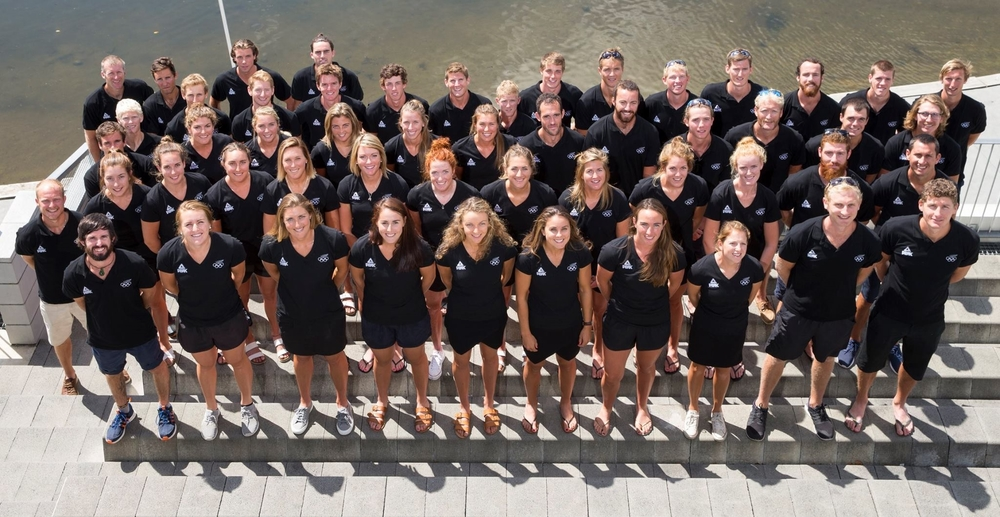 2016 New Zealand Elite Rowing Team. Someone didn't pay attention when they said dark pants...idiot.