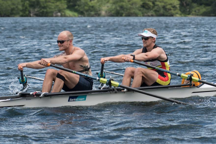My knee strapped to facilitate proprioception during training in the double with Adam Ling mid-December. Photo courtisy of Rowing Celebration.