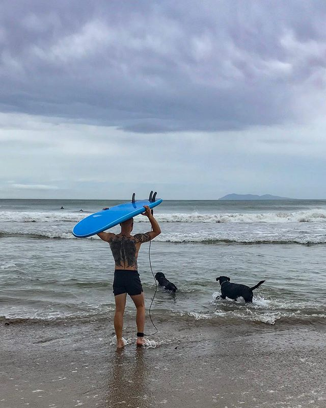 Weekend spent in good company at Waihi Beach trying to stand up on a board for the first time. 📸 @steph_upton  #AmpleExcitement #Execution.... #GoodIntent #GotUp #ButCameAwayABitPoorly #ChestRash #SandInTheEye #LegBruisedFromTheFin #HamstringStrained #ButHadABall #WouldDoItAllOverAgain