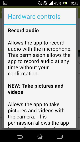 Android permissions for WhatsApp