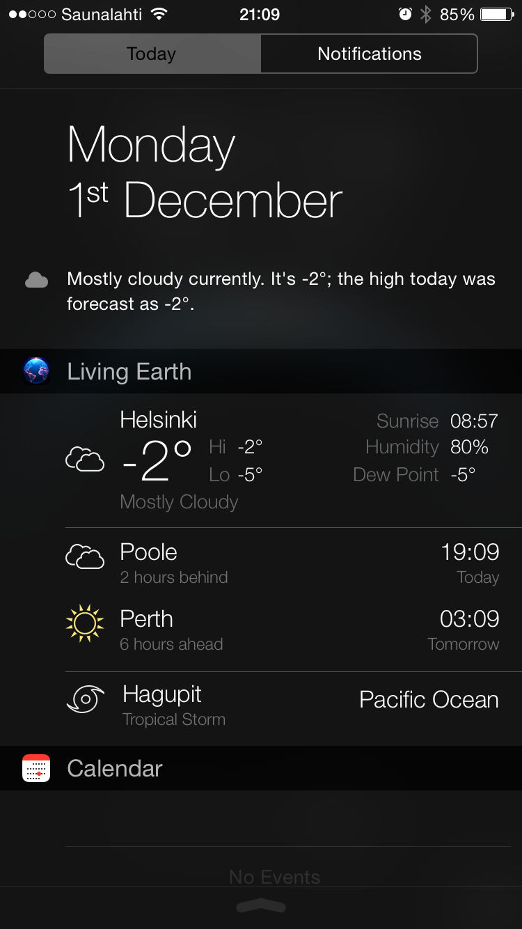 Living Earth 'widget' in the Today view