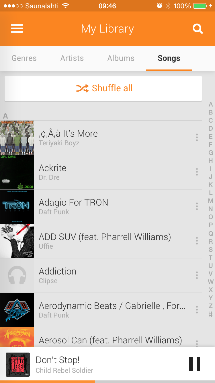 Google Play Music menu UI
