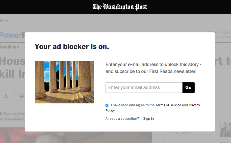 The Washington Post website when an ad-blocker is detected