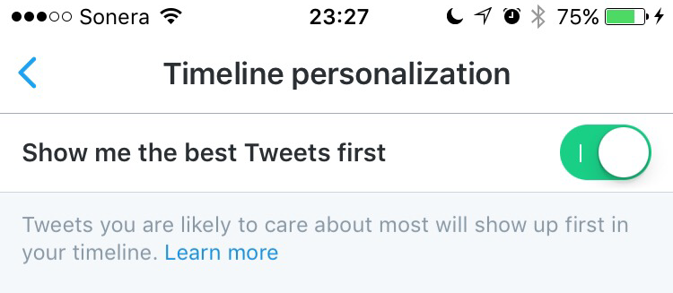 Twitter iOS Timeline personalisation setting