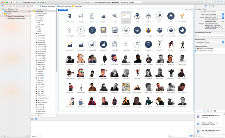 The Quru Analytics iMessage sticker pack in Xcode